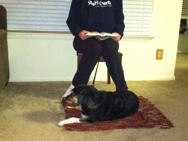 woman reading to a dog