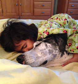 Lucy's favorite sleeping place is cuddled up with Thalia, 5.