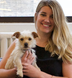 Lola, a terrier mix, is content living in a city apartment.